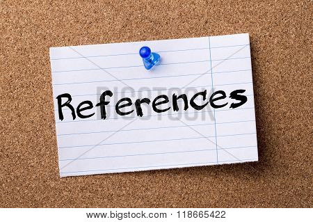 References - Teared Note Paper Pinned On Bulletin Board