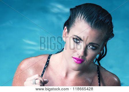 Female model posing in bikini