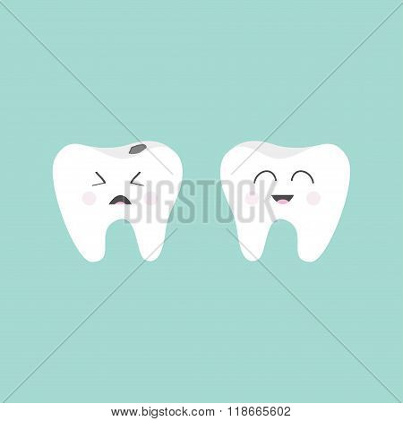 Tooth Icon. Healthy Smiling Tooth. Crying Bad Ill Tooth With Caries. Cute Character Set. Oral Dental