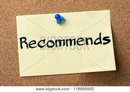 Recommends - Adhesive Label Pinned On Bulletin Board