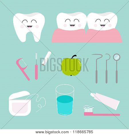Tooth Icon Set. Toothpaste, Toothbrush, Dental Tools Instruments,  Thread, Floss, Mirror, Brush Clea