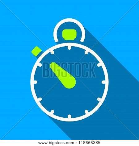 Stopwatch Flat Long Shadow Square Icon