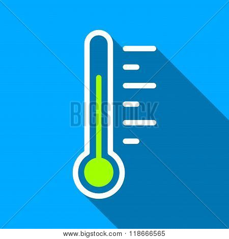 Temperature Level Flat Long Shadow Square Icon