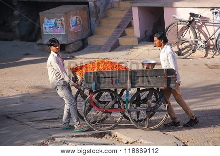 Jaipur, India - November 14: Unidentified Men Push Food Cart The Street On November 14, 2014  In Jai