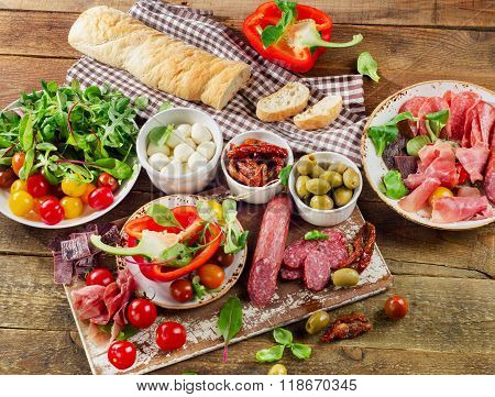 Appetizer Set. Meat, Vegetables And Bread