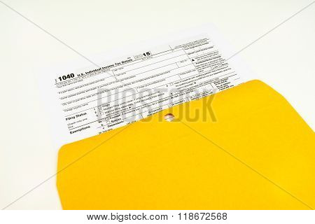 Tax Form 1040, Tax Form Details on Light Background