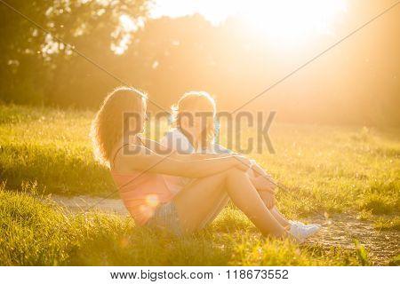 Mother and teenage daughter outdoor portrait