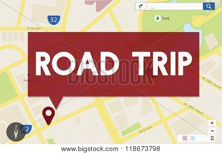 Road Trip Journey Travel Car Direction Destination Concept