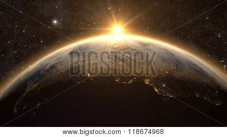 Planet Earth with a spectacular sunset