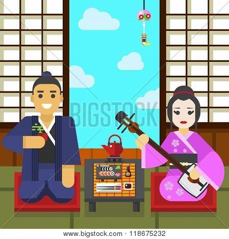 Geisha and samurai tea ceremony