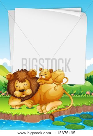 Paper design with lion and cub sleeping illustration