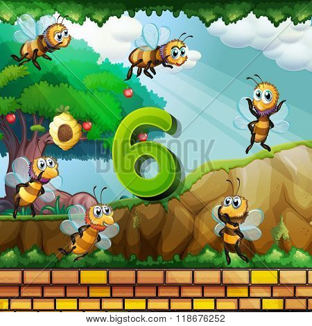 Number six with 6 bees flying in the garden illustration