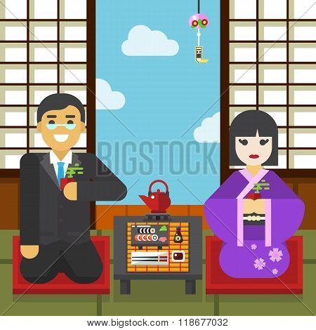 Geisha and samurai with tea cup tea ceremony