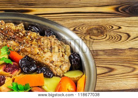 Healthy Food, Stewed Pork Meat With Various Colorful Vegetables In Pan On Wooden Background, Space F