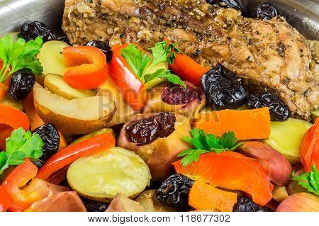 Healthy Food, Stewed Pork Meat With Various Colorful Vegetables In Pan, Close-up View