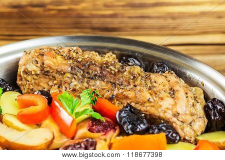 Healthy Food, Stewed Pork Meat With Various Colorful Vegetables In Pan, Selective Focus, Space For T