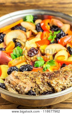 Healthy Food, Stewed Pork Meat With Various Colorful Vegetables In Pan, Selective Focus