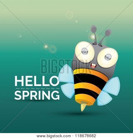 Hello spring . cartoon cute bright baby bee.