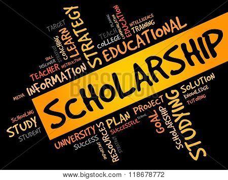 Scholarship word cloud education concept, presentation background