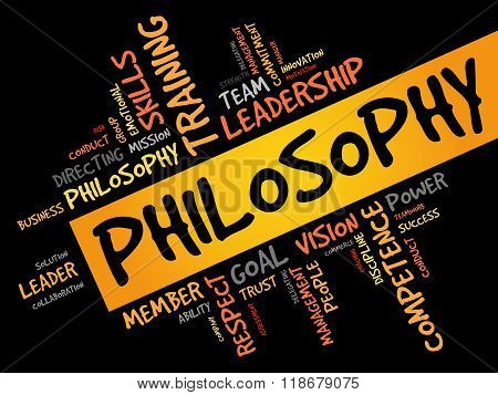 Philosophy word cloud business concept, presentation background