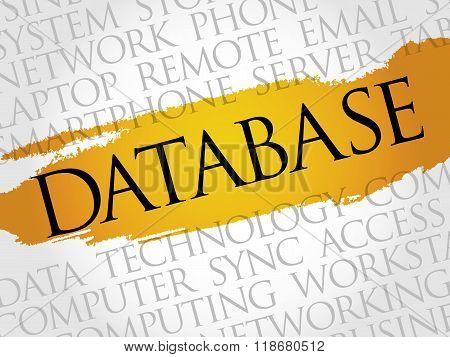 Database word cloud collage concept, presentation background