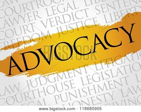 Advocacy word cloud collage concept, presentation background