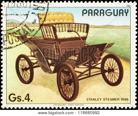 Old Car Stanley Steamer (1898) On Postage Stamp