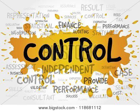 CONTROL word cloud business concept, presentation background