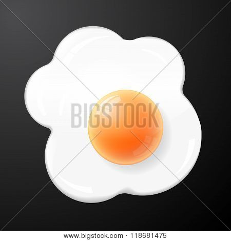 Isolated vector fried egg, scrambled eggs