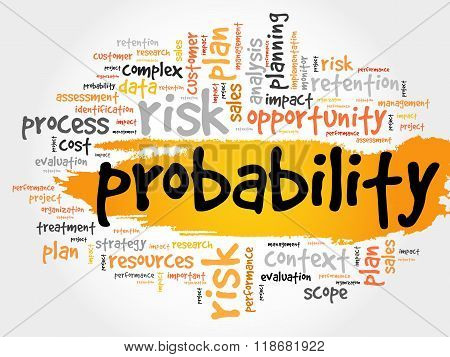 Probability word cloud business concept, presentation background