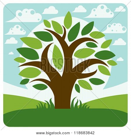 Art Vector Graphic Illustration Of Stylized Branchy Tree And Spring Peaceful Landscape With Clouds,