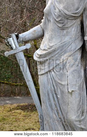CLUJ NAPOCA ROMANIA - FEBRUARY 16 2016: Ancient statue renovated of Roman warrior goddess in the Botanical garden of Cluj Napoca city