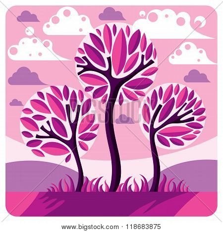 Art Vector Graphic Illustration Of Stylized Branchy Tree And Peaceful Purple Fantastic Landscape Wit