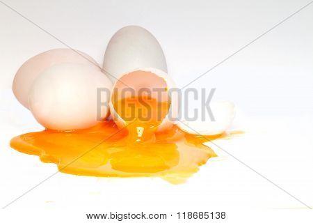 Eggs Cracked On White Background