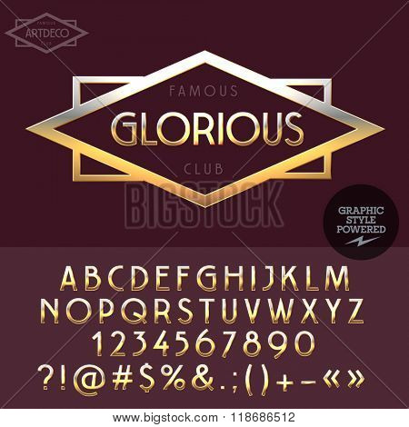 Gold logo for luxury elite club. Vector set of letters, numbers and symbols.