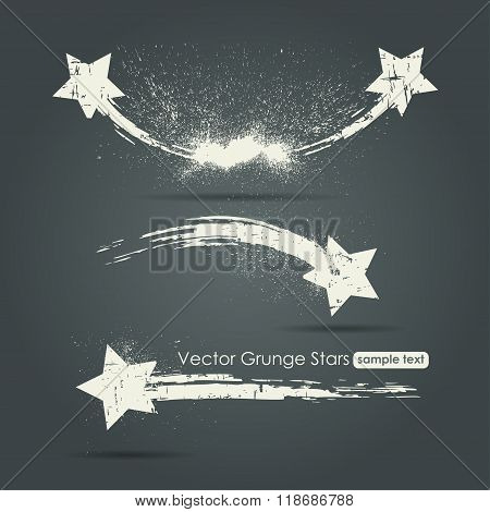 Grunge set of shooting stars