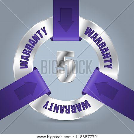Five Year Warranty Badge With Purple Ribbon
