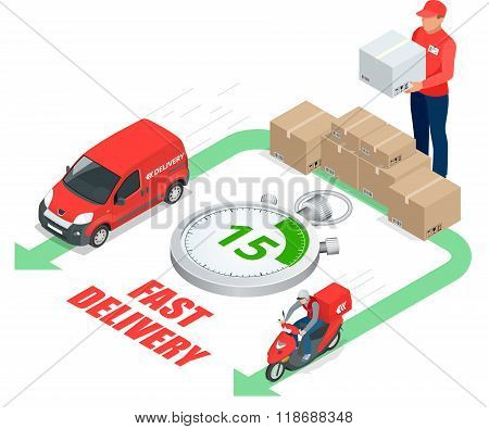 Isometric delivery service concept. Fast delivery car, fast delivery motobike, delivery man, stopwat