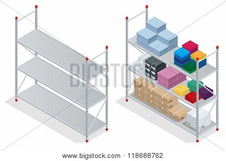 Warehouse interior. Storehouse, goods. Empty warehouse shelves. Flat 3d isometric vector illustratio