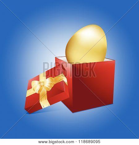 Easter Golden Egg And Gift Box
