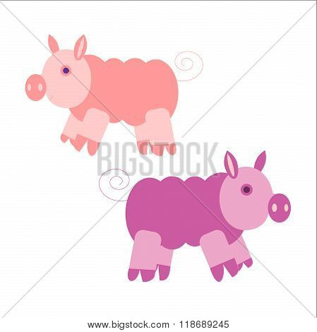 Illustration Of Two Very Cute Pink Piglets. Vector Eps10.