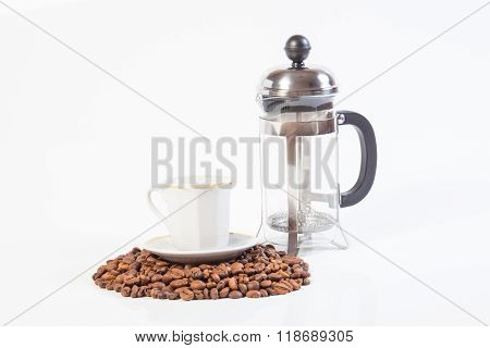 Glass French Press And Cup