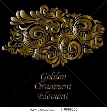 Ornamental Gold And Swirly Decorative Element,   On Black Background, Vector Illustration