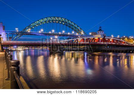 Swing And Tyne Bridges At Night