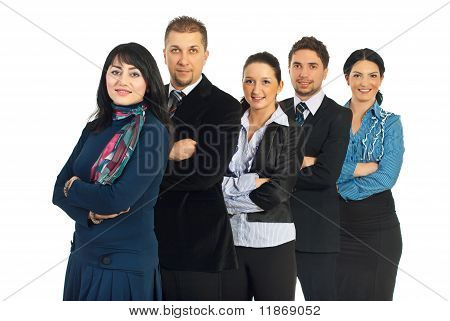 Row Of Cheerful Business People Team