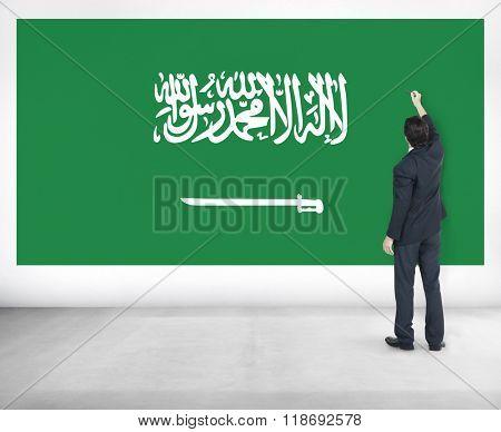 Businessman Saudi Arabia National Flag Pride Concept