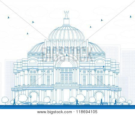Outline The Fine Arts Palace/Palacio de Bellas Artes in Mexico City, Mexico. Business Travel and Tourism Concept with Historic Building. Image for Presentation Banner Placard and Web Site.
