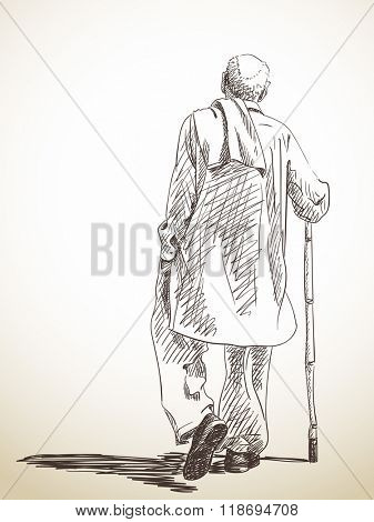 Sketch of walking old man, Hand drawn illustration