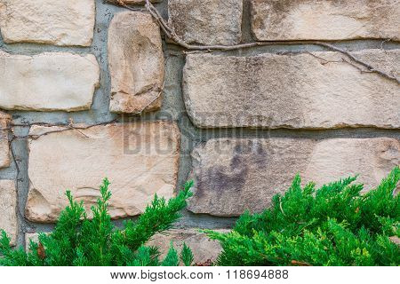 Old Stone Brick Wall Texture Background.