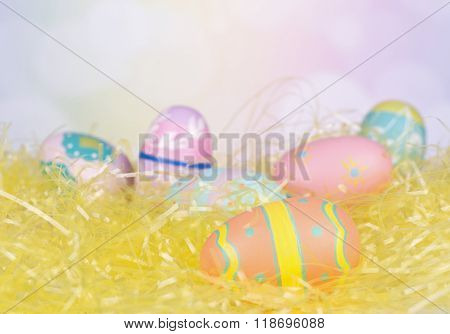 Painted Eggs On Easter Grass